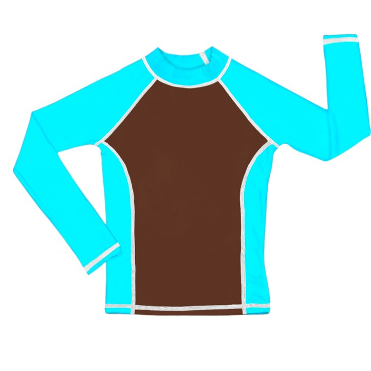 Brown / Turquoise UV Long Sleeve Swim Shirt